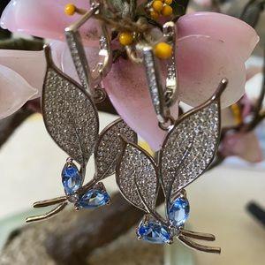Vintage 925 velvet tanzanite & CZ earring